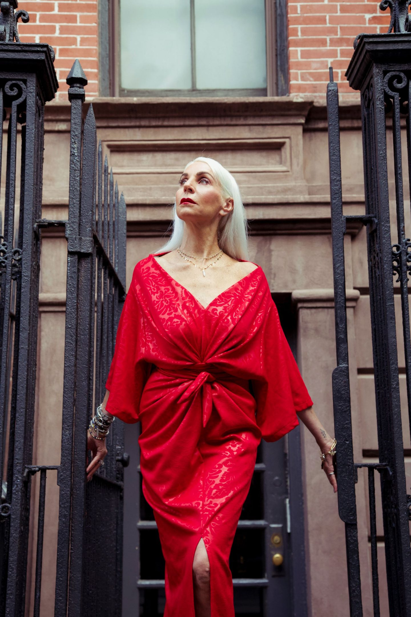 red dress by house of daughtry in 60 year old model debra corley in new york for new york fashion week