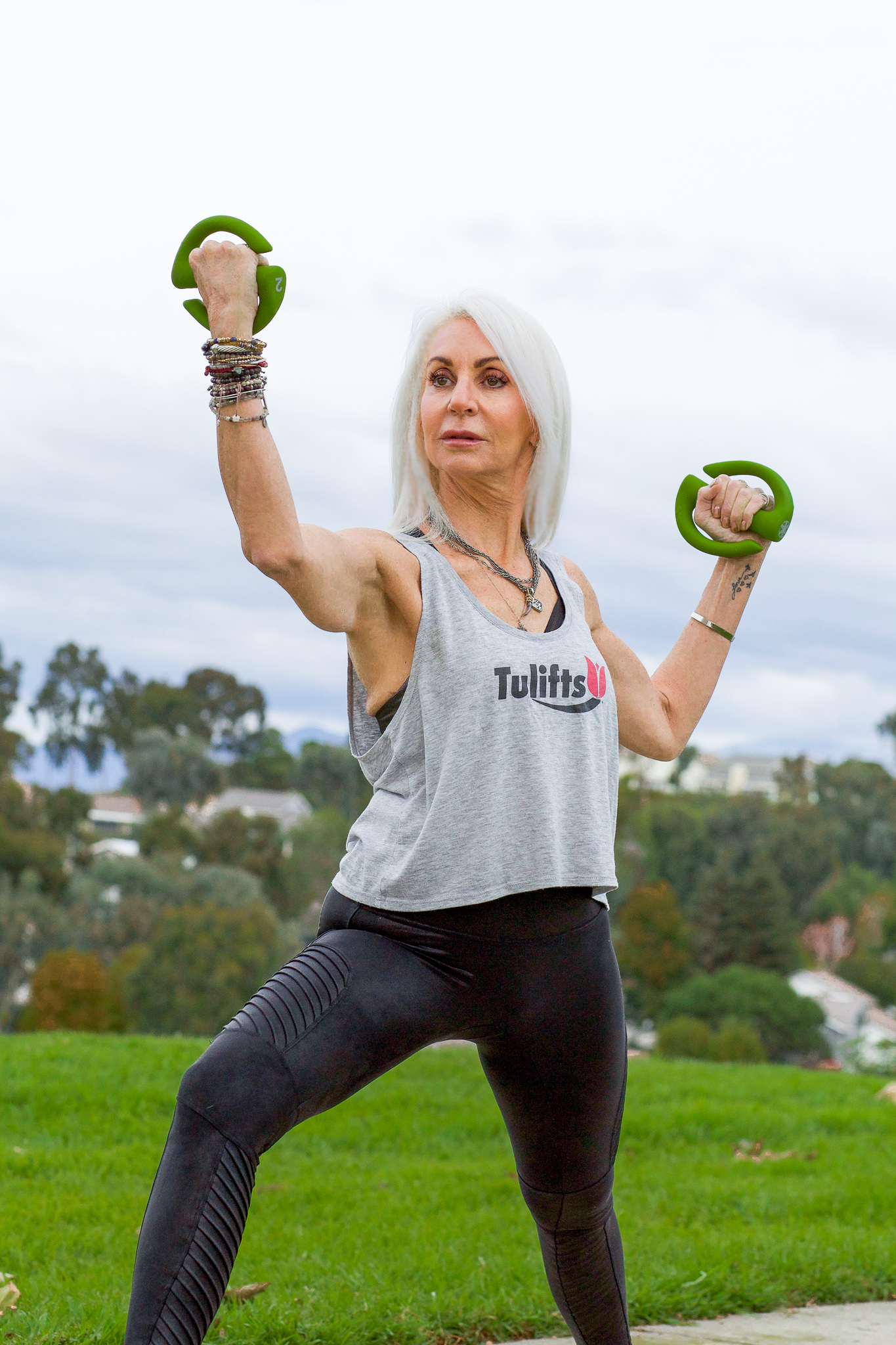 yoga - silver hair model in orange county