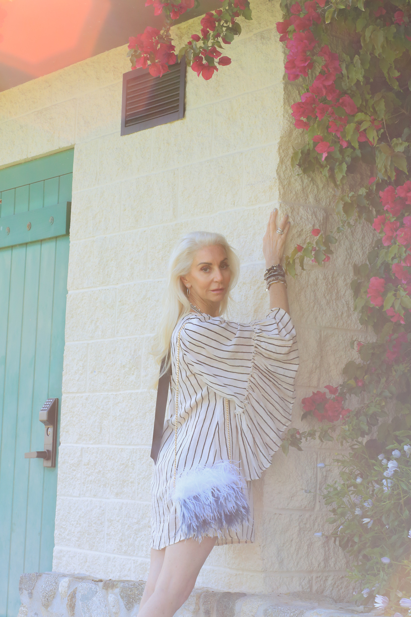 silver hair model, spanish architechture, laguna beach photoshoot, anthropologie aesthetic