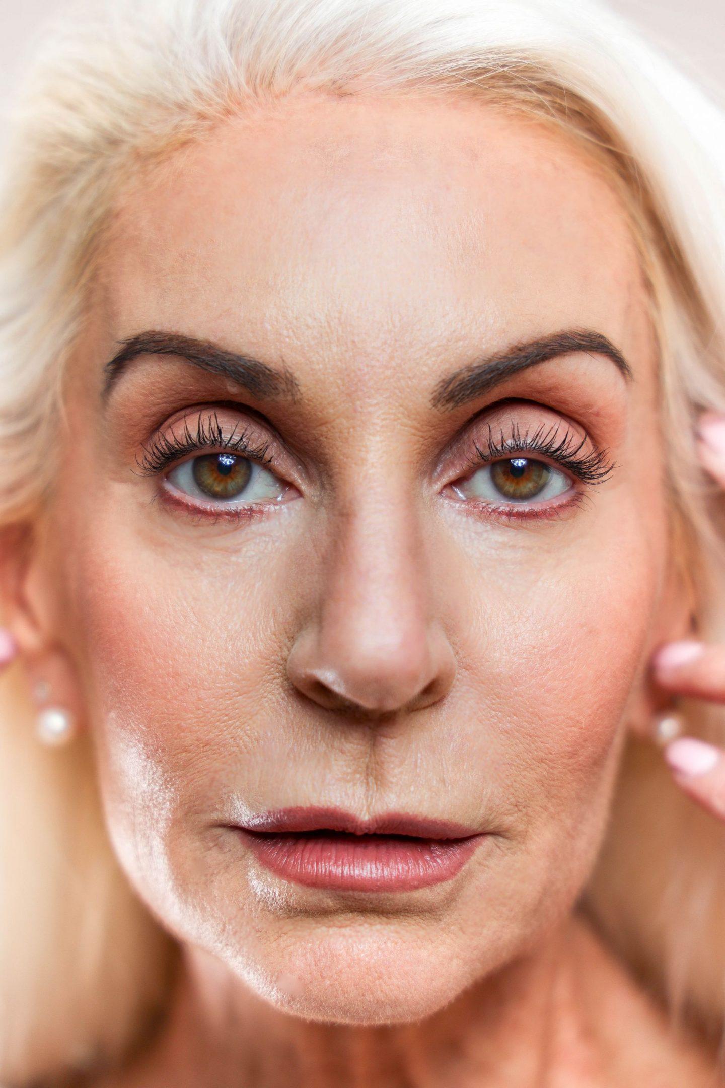 sen organics, mature model makeup look, mature beauty model, skincare